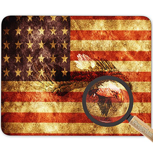 The Vintage Retro Patriotic Bald Eagle with US American Flag Wings Background Mouse Pad, HD Bright Colors Gaming Mouse Pad Custom Design Mat