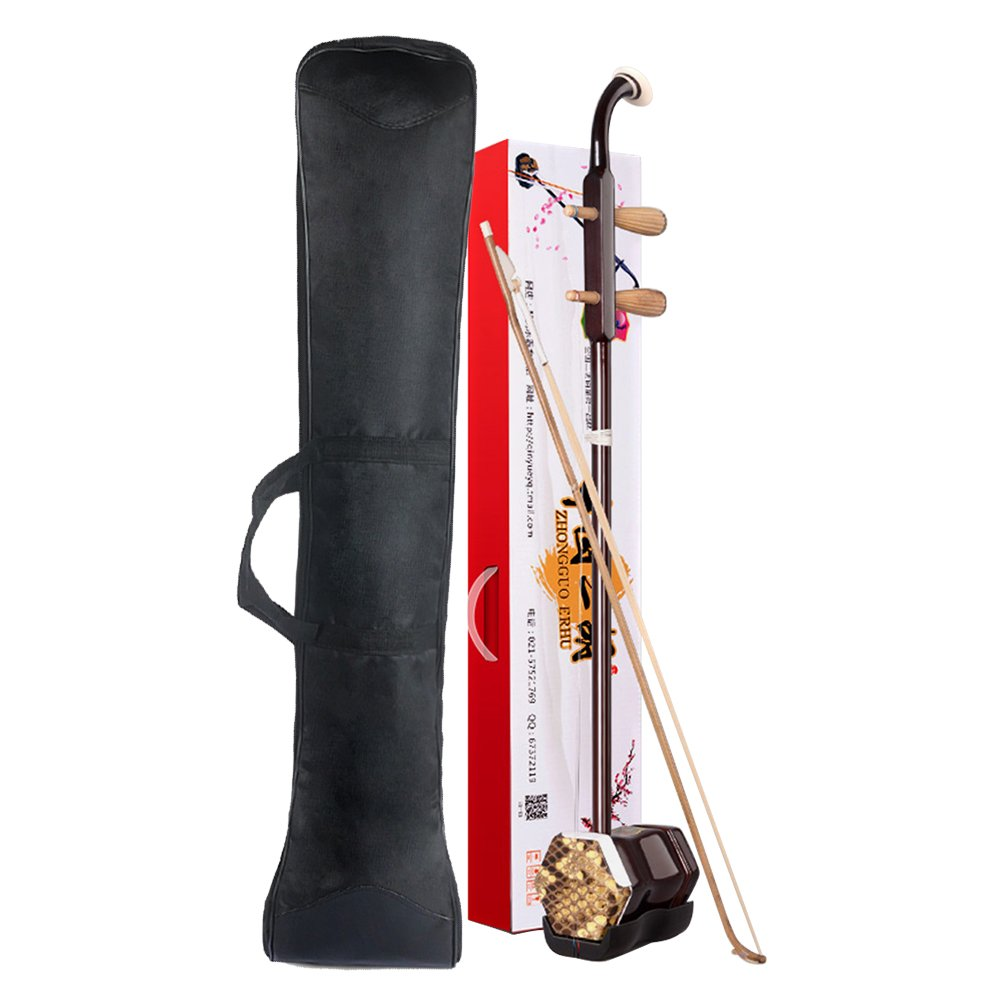 WuYue Chinese 2 Strings Violin Traditional National Instruments Erhu Phoneme Mark for Entry Level Brown Tracery with Bag by WuYue