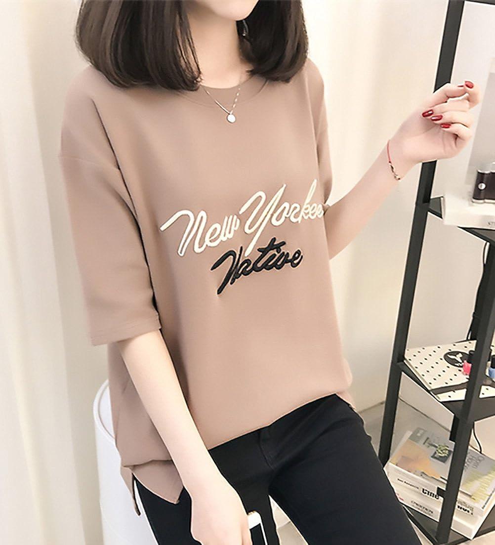 Camisetas Mujer Manga Corta Carta Bordados Cuello Redondo Tops Verano Anchas Casual Basicas Tshirts Blusas Camisas Camisa: Amazon.es: Ropa y accesorios