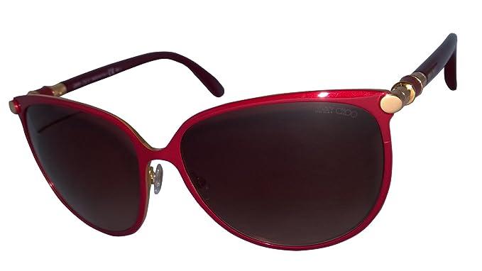 58dc66f2c6 Jimmy Choo Juliet s 100% Authentic Women s Sunglasses Shiny Burgundy ...