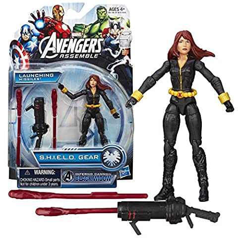 Hasbro Year 2013 Marvel Avengers Assemble S.H.I.E.L.D. Gear Series 4 Inch Tall Action Figure - Inferno Cannon BLACK WIDOW with Missile Launcher and 2 (Inferno Cannon Black Widow Figure)