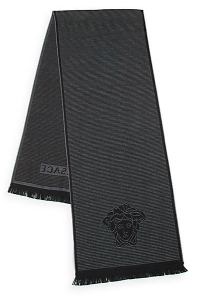 Versace Men's Box Patterned Wool Scarf, One Size, Black by Versace