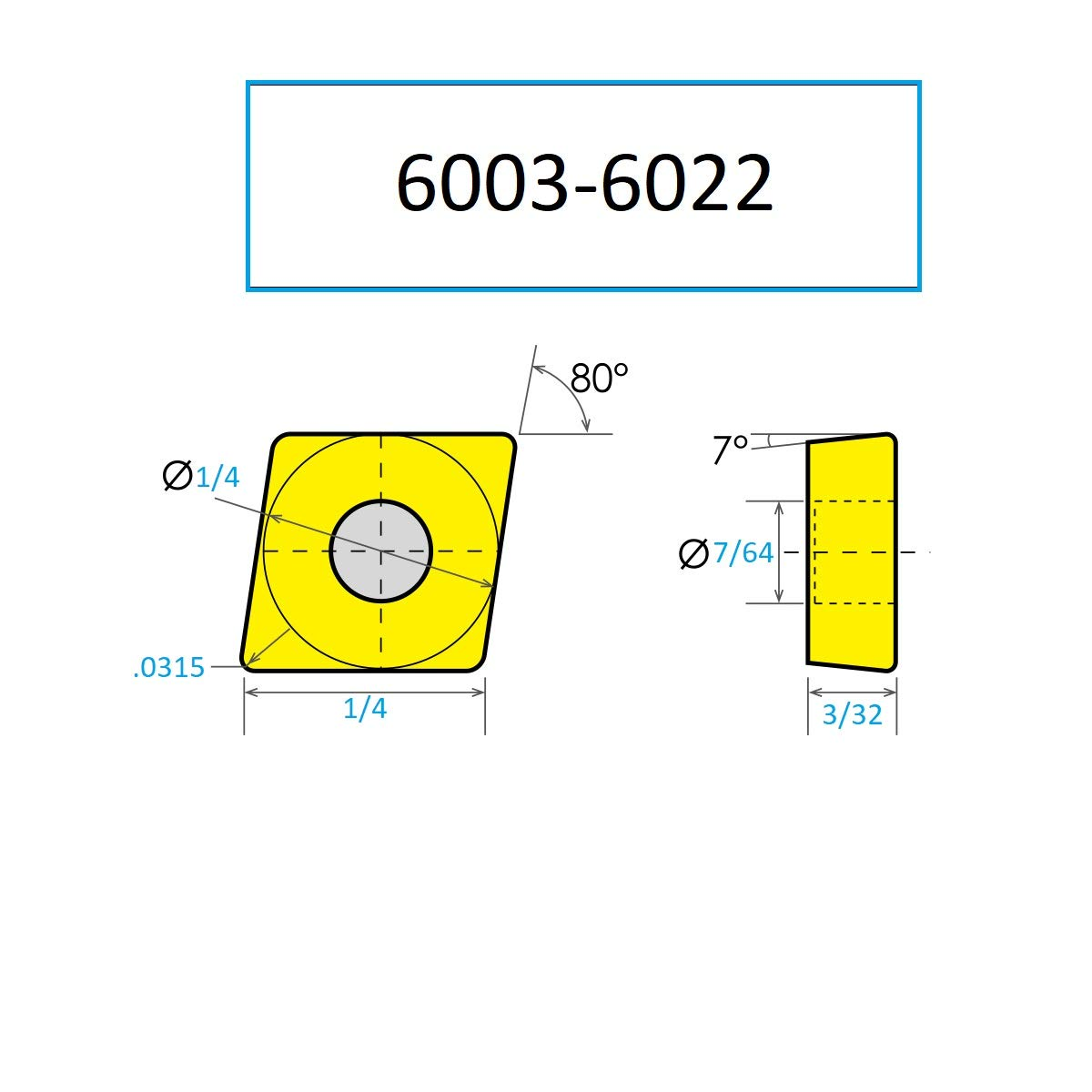 1//4 Length HHIP 6003-6022 CCMT//HR 80 Degree Diamond-Positive Rake Carbide Insert 0.0315 Nose Radius