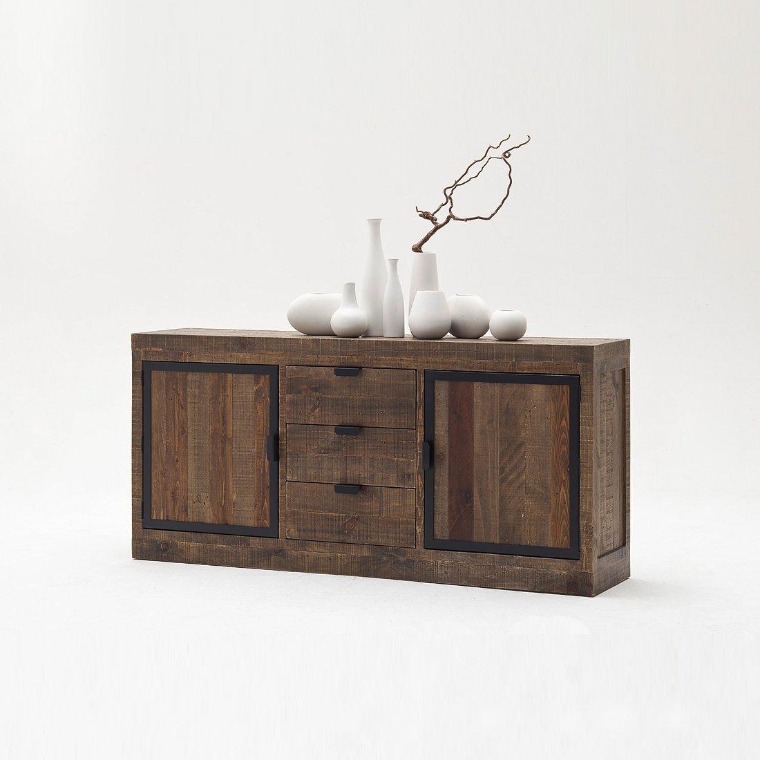 sideboard xl finca vintage shabby esszimmer kommode vitrine kiefer massivholz mobel
