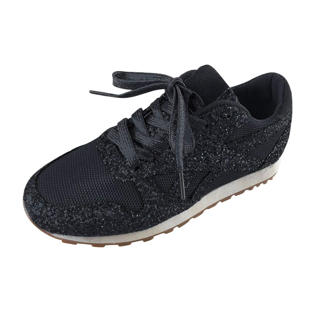 ❤Kauneus❤ Women's Fluorescence Bling Sneakers Mesh Breathable Casual Lace Up Running Athletic Shoes Sport Shoes Black by Kauneus Fashion Shoes