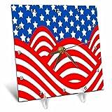 3dRose TDSwhite – Patterns Designs - Red White Blue USA Flag Design Patriotic America - 6x6 Desk Clock (dc_281801_1)