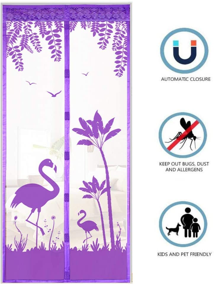 Giow Magnética Pantalla de la Mosca de la Puerta, Malla de potentes imanes Mantiene habitación s os hacia Fuera para niños Balcón de Puertas corredizas de la Sala de Estar, púrpura-100 * 210cm