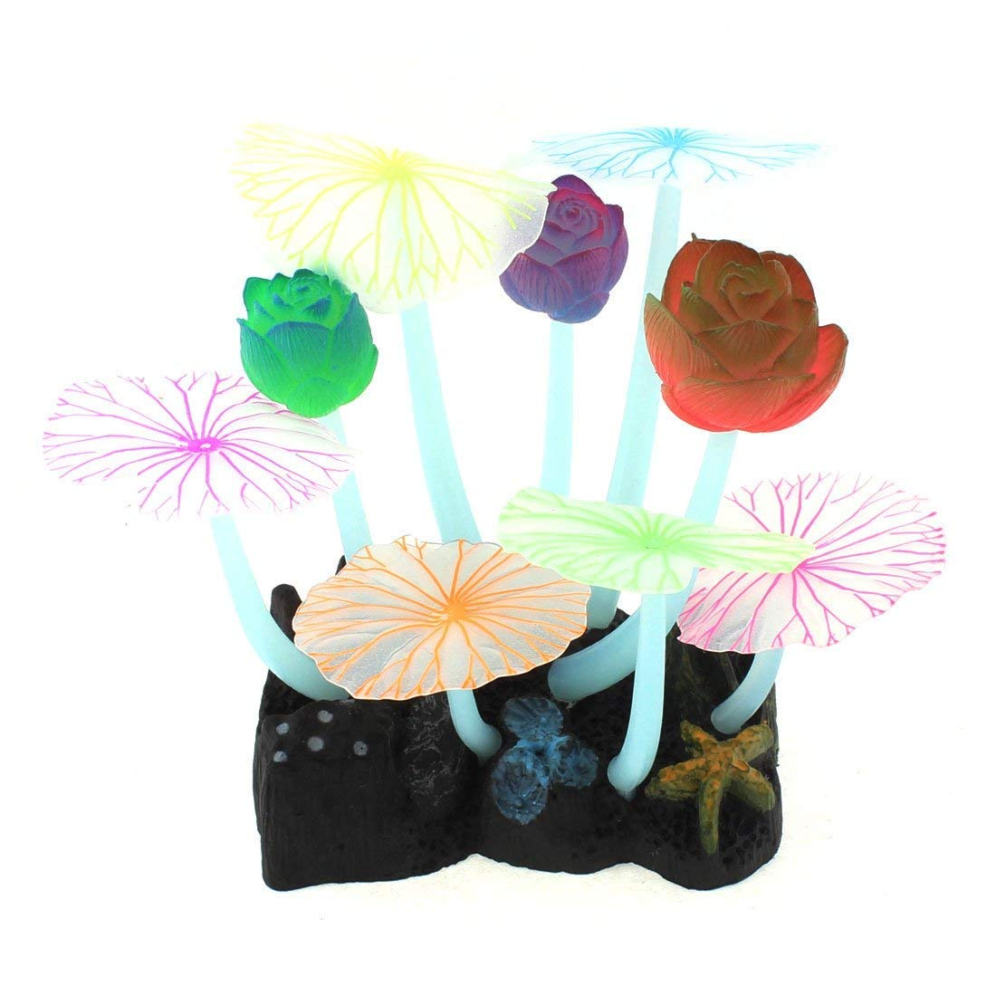 1Pc Silicone Flower Head Decor Aquarium Artificial Aquascaping Seaweed Coral Multicolor