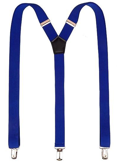 4b56bf1aed2 Amazon.com  Suspenders Men Royal Blue Formal Suit Elastic Braces Y Back  Shape 3 Clips Suspenders Dark Blue Party Students  Clothing