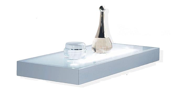 Mensola luminosa struttura in alluminio con vetro temperato satinato