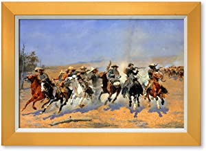 DECORARTS - 'A Dash for The Timber' by Frederic Remington. Oil Painting Reproduction, Giclee Prints Ready to Hang Framed Wall Art for Wall Decor. Total Size w/Frame: 21x15