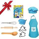 bc55551aeab El juego de cocina para cocinar y hornear para niños Diuspeed, el juego de delantal  para niñas de 8PCS El juego de cocina…