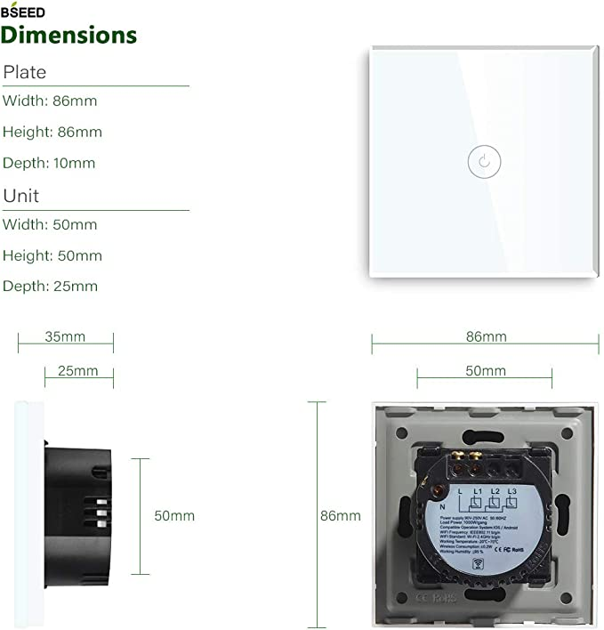 BSEED Interruptores de luz de pared Smart WiFi Touch Sensor Panel de vidrio compatible Alexa//Tuya//IFTT 2 Gang 1 v/ía Negro se necesita alimentaci/ón neutra