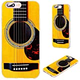 iPhone 8 Plus Case,iPhone 7 Plus Case,VoMotec [Cute series] Anti-scratch Ultra Thin Flexible Soft TPU Full Protective Cover Case For iPhone 7 8 Plus 5.5 inch,funny yellow Acoustic guitar