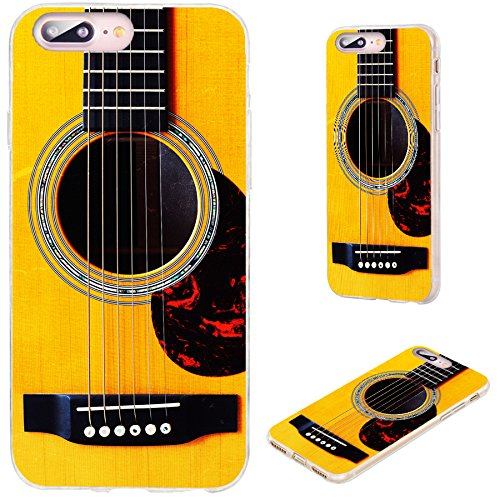 iPhone 8 Plus Case,iPhone 7 Plus Case,VoMotec [Cute Series] Anti-Scratch Ultra Thin Flexible Soft TPU Full Protective Cover Case for iPhone 7 8 Plus 5.5 inch,Funny Yellow Acoustic Guitar (Pretty Guitar Case)