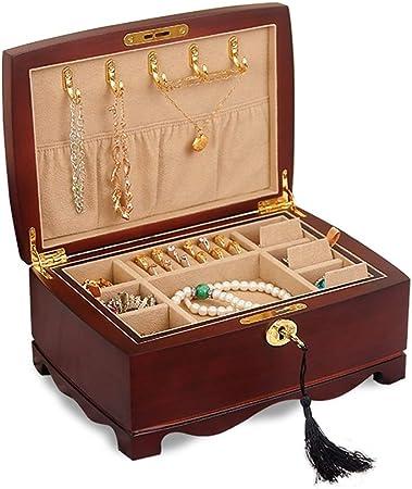 Caja de Madera para Joyas, 2 Capas, Espacio Grande, Caja para Guardar Joyas, con Cerradura: Amazon.es: Hogar