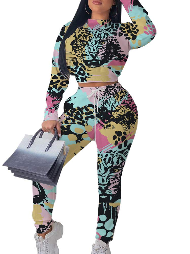 Women Workout 2 Piece Set Cartoon Print Crop Tops Skinny Long Pants Tracksuit Set 2 Piece Jumpsuit Multicolor 02 S by NVXIYYA