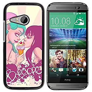 Design for Girls Plastic Cover Case FOR HTC ONE MINI 2 / M8 MINI Lgbt Girls Sexy Ice Cream Blue Black Hair OBBA