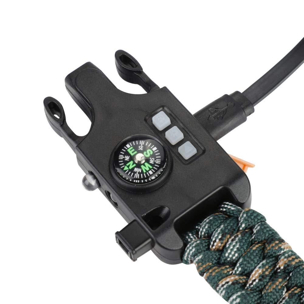 Desert Camo Pulsera Multifuncional de Supervivencia al Aire Libre de Paracord con Linterna LED Mini br/újula Whistl para Deportes al Aire Libre Alomejor Pulsera de Emergencia de Paracord