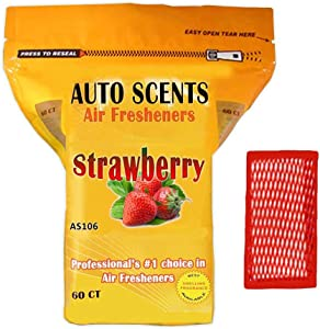 Strawberry Scent Professional Air Freshener Pads - Remove The Worst Smells with These Heavy Duty Pads (60 Pads Per Pack) (Strawberry Scent)