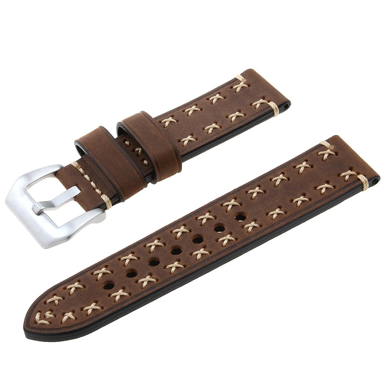 adebena 22 mm交換用ヴィンテージ本革時計バンド腕時計ストラップ ブラウン  ブラウン B01N0LISBS