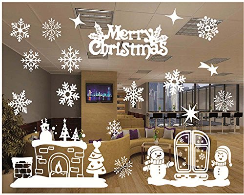 Christmas Windows Stickers Removable Vinyl DIY Wall /Glass Stickers, Door Mural Decal Sticker for Showcase (C) by Yuson Girl
