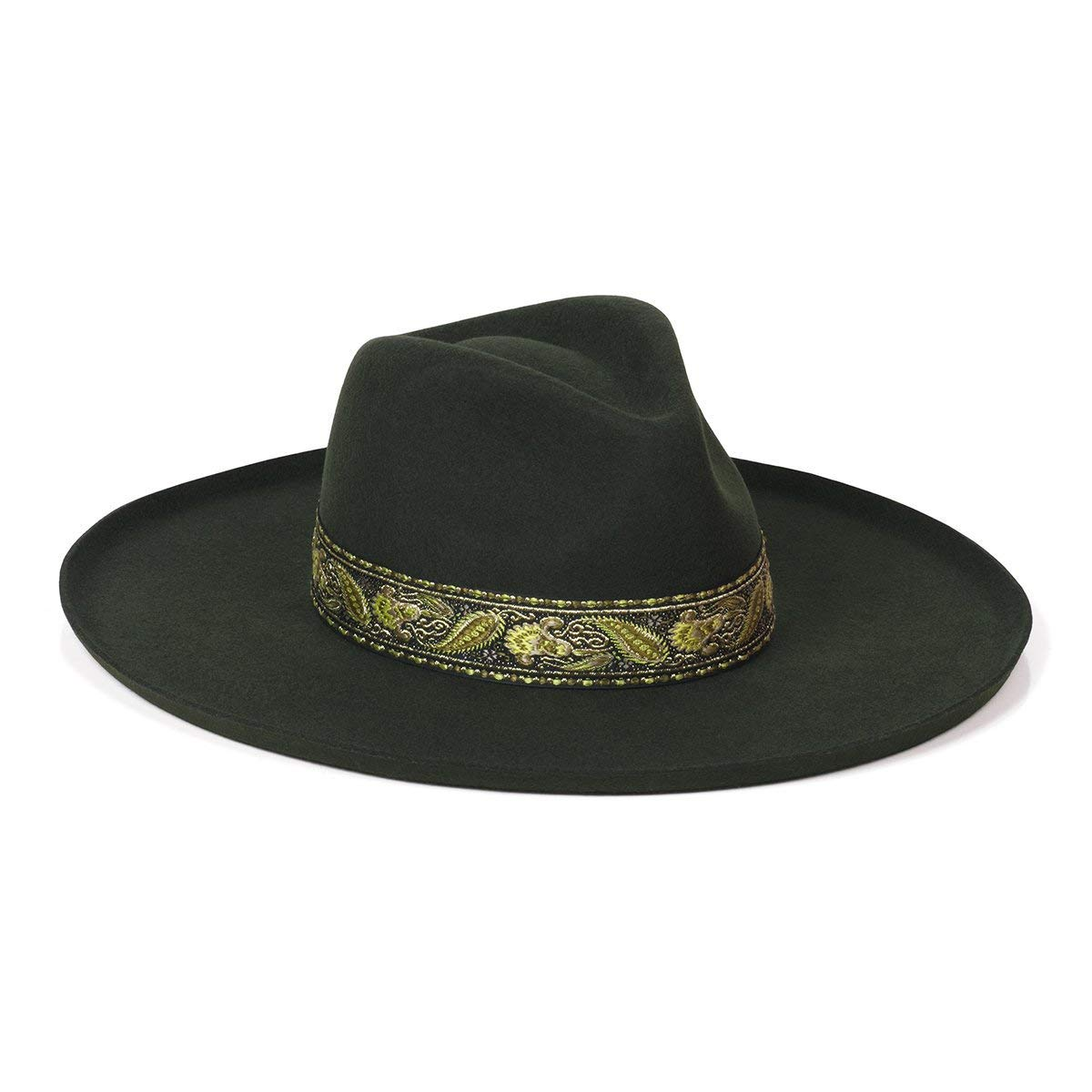 Lack of Color Women's Melodic Wide-Brimmed Wool Fedora (Forest Green, Small (55 cm)) by Lack of Color
