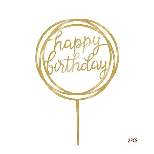 Gankmachine Ronda Feliz cumpleaños de la Torta de acrílico de Oro del Brillo centelleo del Bricolaje Torta de la Magdalena de Smash Partido de la Vela ...