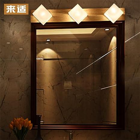 ShengYe moderno Vintage aplique lámpara de pared de luz Espejo madera pared  delantera salón lámpara Lámpara de264424fe60