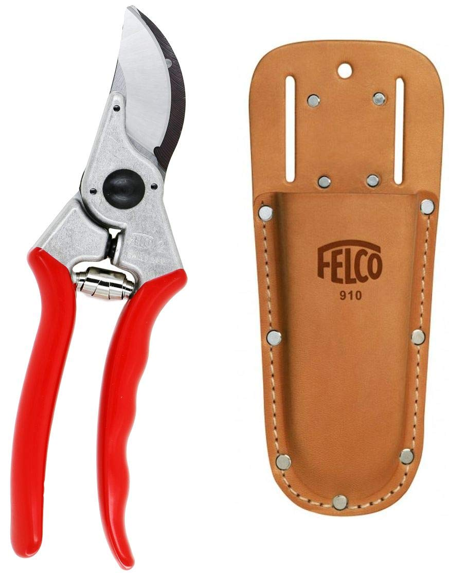 Felco F2 Professional Pruning Shears with Leather Clip or Belt Holster (Bundle, 2 Items)