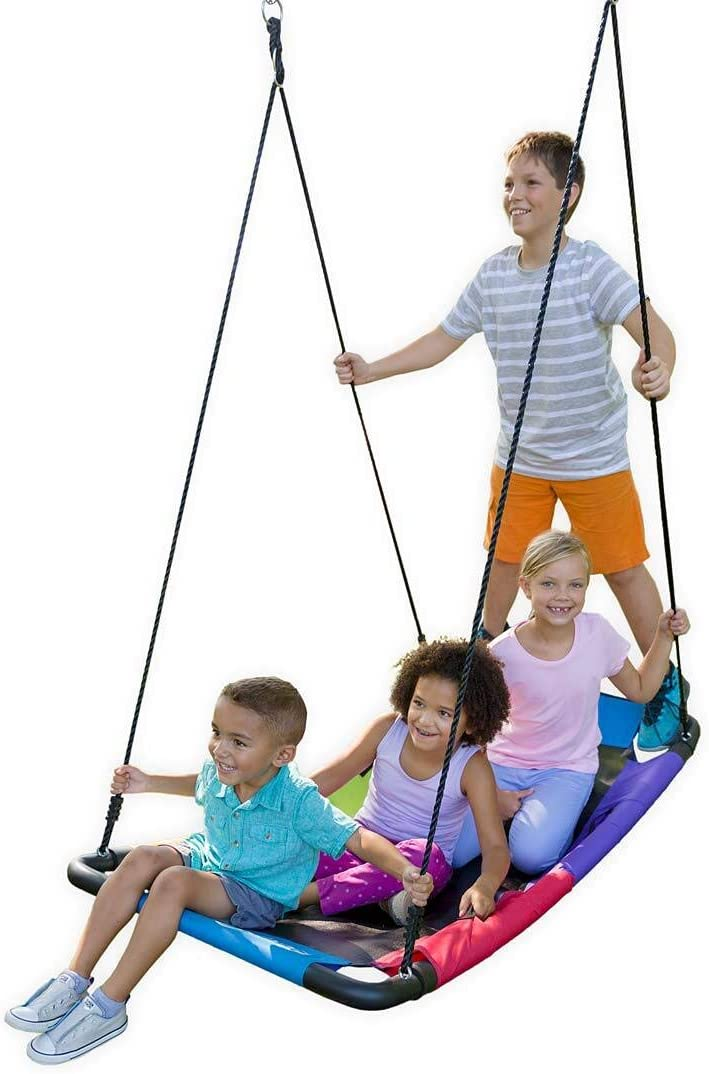 HearthSong Multi-Colored Rainbow Curved Platform Tree Swing