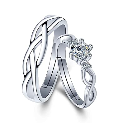 a547f983ed629 Burning Dream CHuir Matching Couple Rings, Adjustable 925 Sterling Silver  Bamboo Wedding Promise Ring Set for Him and Her