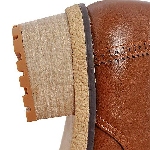 Allhqfashion Womens Pull On Tacco Chiuso Tacchi Gattino Pu Pompe Solide-scarpe Marrone