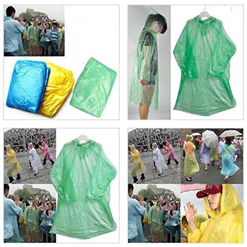 Discountsday Disposable Adult Emergency Waterproof Raincoat Hood Rain Poncho Cover (One Size, Random Color)