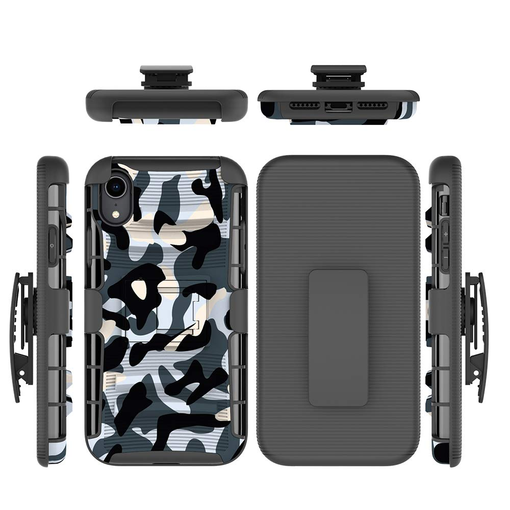 iPhone XR Case, Shockproof Heavy Duty Rugged Locking Swivel Holster Belt Clip Kickstand Magnetic Full Body Hard Armor Protective Shell Phone Cover Case Compatible with iPhone XR