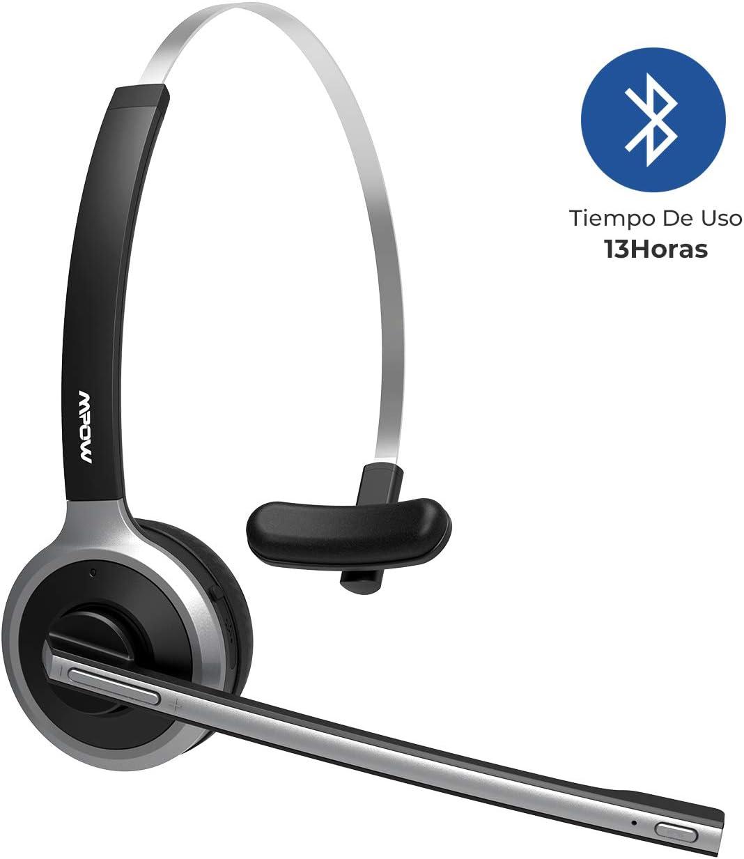Mpow Auriculares Bluetooth V4.2 con Micrófono, Auriculares Inalámbricos de Diadema, Cancelación de Ruido, Manos Libre Bluetooth, para Conductores, Centro de Llamada, Oficina, Skype