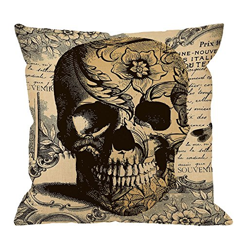 HGOD DESIGNS Throw Pillow Cover Skull Laciness Mediaeval Style Retro Horror Home Decorative Pillow Cases Cotton Linen Square Cushion Covers For Sofa Couch 18x18 Inch (Couch Cover Halloween)