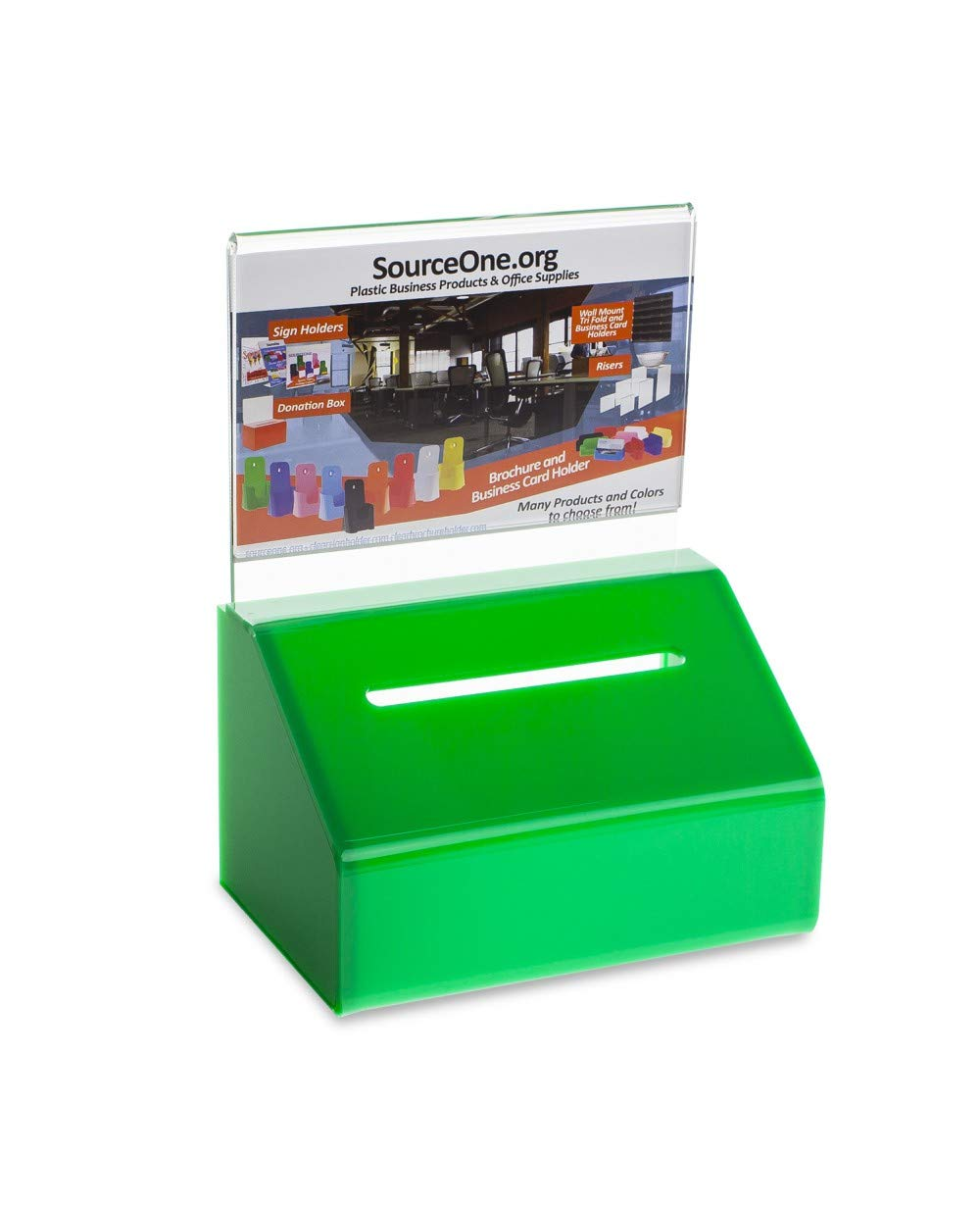 Source One Heavy Duty Donation/Ballot Box with Lock and Sign Holder (2 Pack, Green)