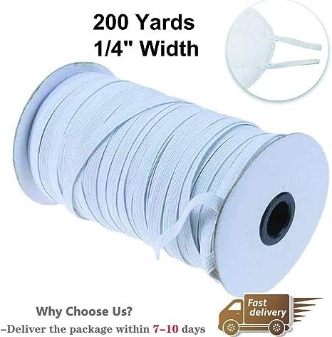 100 Yards Cuff DIY Ear Band Loop Bedspread 1//4 inch Braided Elastic Cord-Elastic Bands-Elastic String Cord-Elastic Rope-White Heavy Stretch Knit Elastic Spool Band for Sewing Crafts DIY