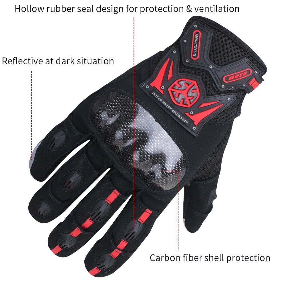 SCOYCO Touch Screen Full Finger Motorcycle MBX Gloves for Men,Reinforced Knuckle Padded Palm Ventilate Glove RED,L