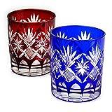 Set of 2 Double Old Fashioned Glass 9.4Oz Edo Kiriko Cut Glass Star Motif - Red & Blue [Japanese Crafts Sakura]