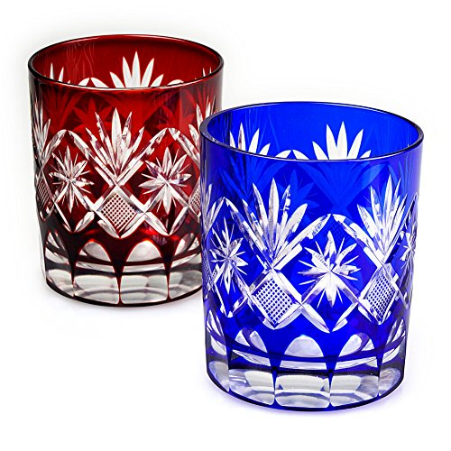 Set of 2 Double Old Fashioned Glass 9.4Oz Edo Kiriko Cut Glass Star Motif - Red & Blue [Japanese Crafts Sakura] by Japanese Crafts Sakura