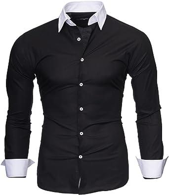 Kayhan Hombre Camisa Manga Larga Slim Fit S M L XL 2XL - Modello Mailand: Amazon.es: Ropa y accesorios