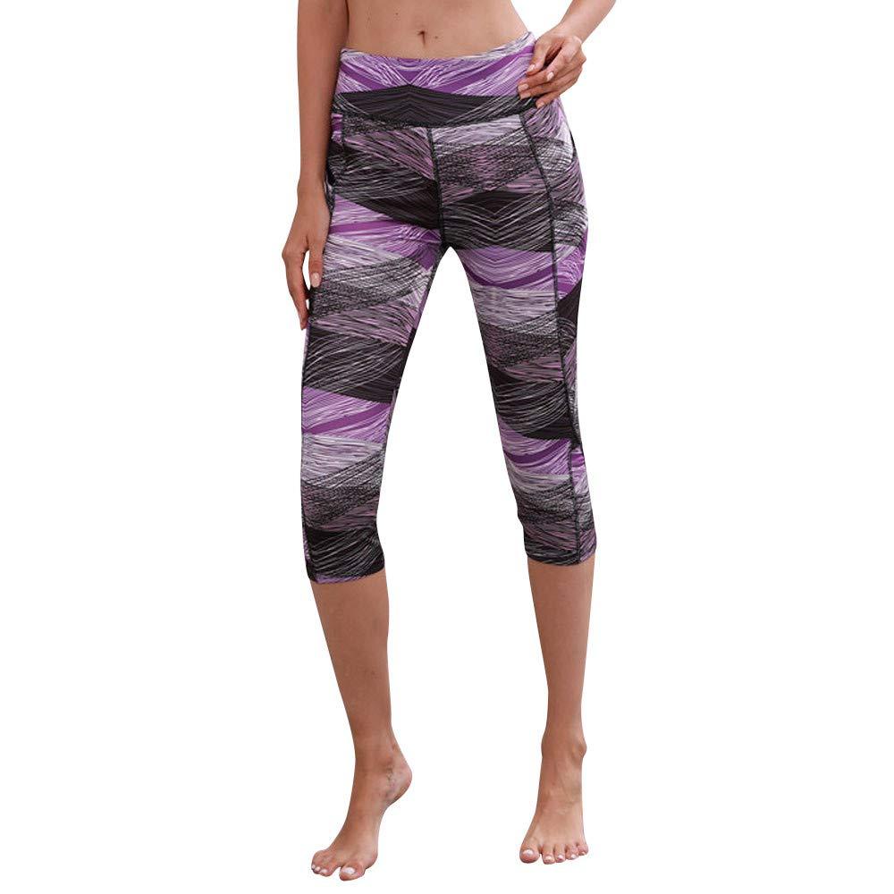 Bravetoshop Women 3D Print Legging with Pocket Capri Tummy Control Workout Pant for Yoga(Purple, S)