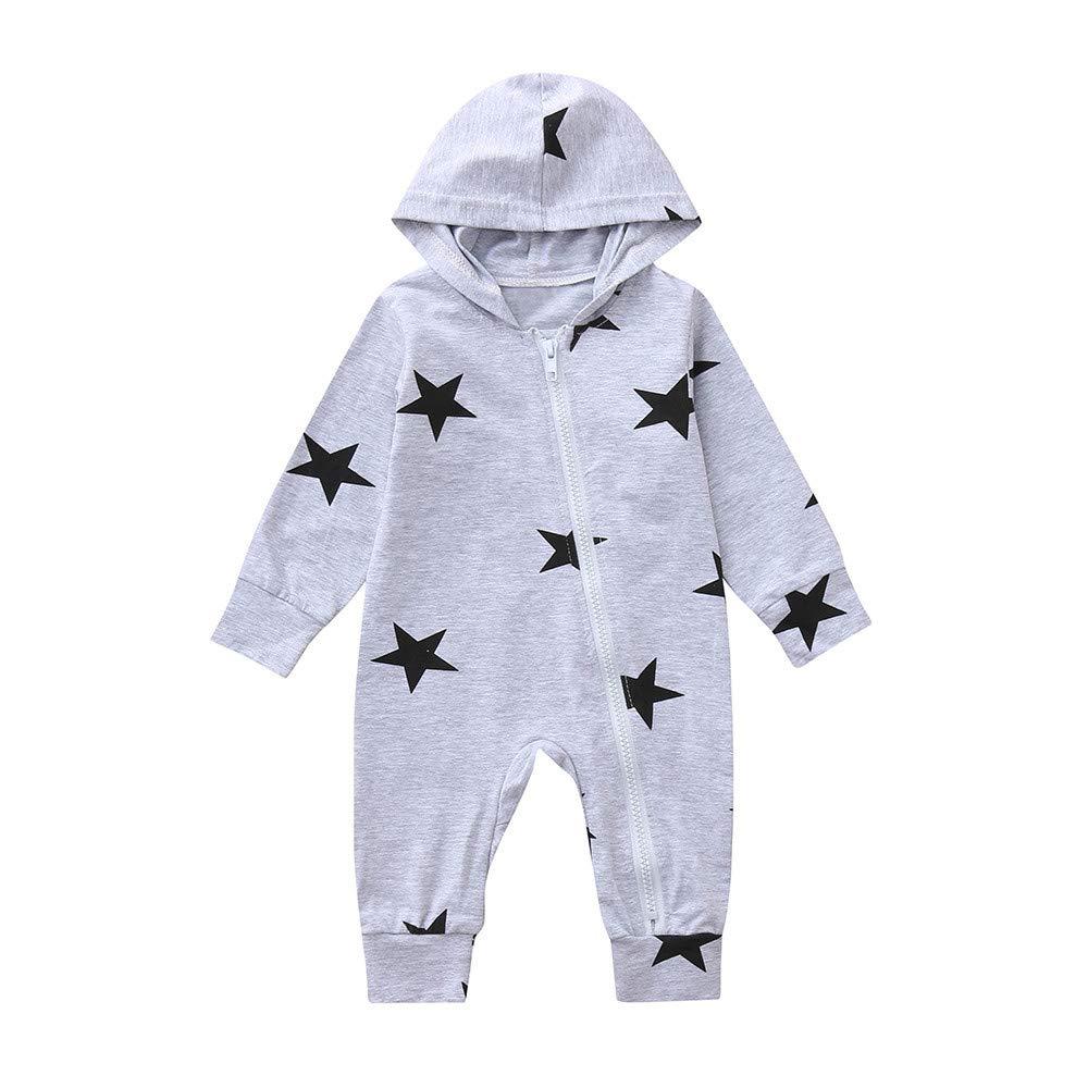 Danhjin Kid Baby Girls Jumpsuit Hoodie Romper Outfit Long Sleeve Bodysuit Clothes Stars Print Hooded Zipper Romper