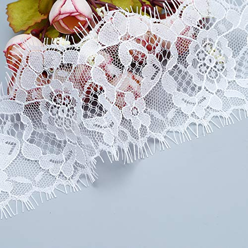Lace Trim for Women, Lucky Goddness 3 Yards 3 inches Wide White Pattern Fringe Tassel Embroidery Trim- Best for DIY Craft,Dreamcatcher,Curtain,Garment Accessory, Bridal Belt Sash, Wedding Dress