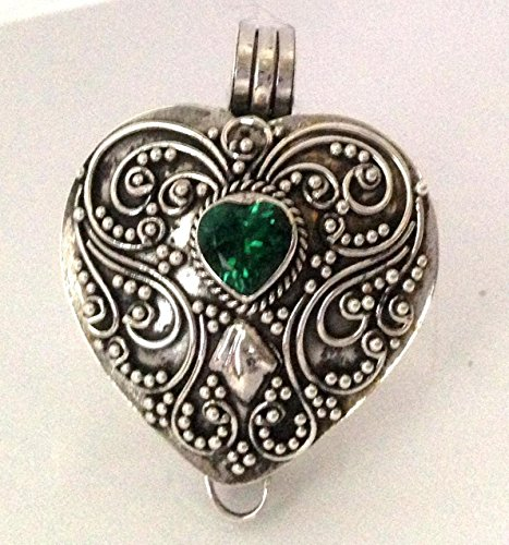 Citrine, Green quartz (sub for Emerald), smoky quartz Birthstone stones heart locket sterling silver wish box pl9 Green Smoky Quartz Pendant
