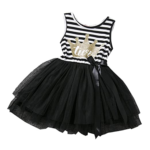 cde72bff2ca6f IBTOM CASTLE Baby Girls 1st/2nd/3rd Birthday Cake Smash Crown Princess  Outfit Striped Shiny Party Tulle Tutu Kids Dress