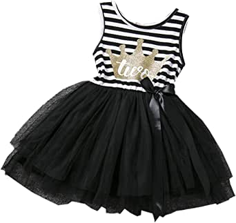 IBTOM CASTLE Baby Girls 1st/2nd/3rd Birthday Cake Smash Crown Princess Outfit Striped Shiny Party Tulle Tutu Kids Dress