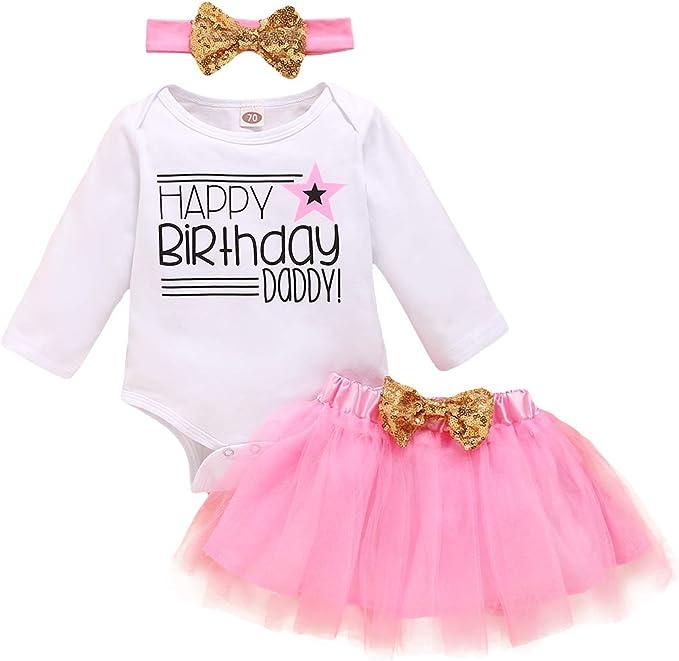 Daddy/'s Girl Hot Pink tutu romper with bow headband Princess Love Cute Baby Girl Newborn Gift Present